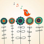 Bird is singing on flowers — Stock Vector
