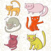 Conjunto de dibujos animados gatos — Vector de stock