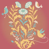 Cartoon floral background — Stock Vector