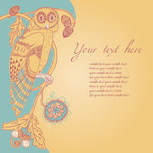 Nouveau background with owl on oak — Vettoriale Stock