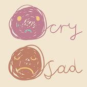 Unhappy smiley icons — Stock Vector