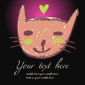 Cartoon cat - bright stylish vector background — Stock Vector