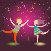 Kids are dancing on the party in vector — Stock Vector