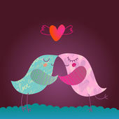 Love desigh. Two textured cartoon birds illustration — Stok Vektör