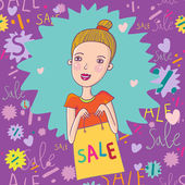 Sale concept. Cartoon beautiful girl — Vetorial Stock