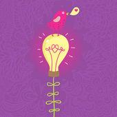 Cute small bird on lightbulb - romantic concept in cartoon vector — Stock Vector
