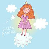 Little princess - cute cartoon illustration — Stock Vector
