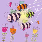 Happy bees - cute cartoon illustration — ストックベクタ