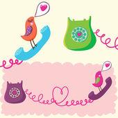 Renkli romantik telefon genel kavram — Stok Vektör