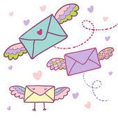 Flying mail symbol - cartoon envelopes — Cтоковый вектор