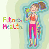 Healthcare background - fitness girl with apple — Stock Vector
