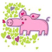 Komik karikatür domuz — Stok Vektör