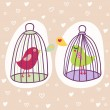 Stock Vector: Two birds in cages - romantic cartoon illustration.