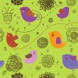 Ice spring background - cartoon birds in flowers - Imagens vectoriais em stock