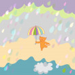 Smiling cat under rain vector illustration — Imagen vectorial