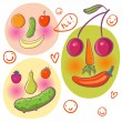 Abstract funny faces made of fruits and vegetables - Stock Vector