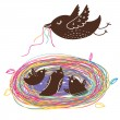 Nestlings in nest . Cartoon vector — Vector de stock #25313325