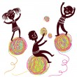 Happy kids playing with colorful balls - Image vectorielle