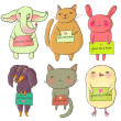 Cartoon animal. Funny vector set — 图库矢量图片