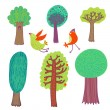 Cartoon trees — Vettoriali Stock