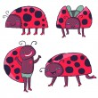 Cartoon ladybirds vector set — Stock Vector #25313549