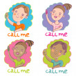 Call me. Cartoon vector set — Stok Vektör