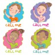 Call me. Cartoon vector set — Stock Vector