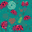 Ladybirds seamless pattern — Stock Vector