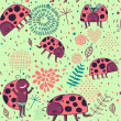 Insect cartoon seamless pattern — Stock Vector