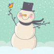 Cartoon snowman - Stock Vector