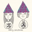 Cute girl and boy celebrating christmas - Stock Vector