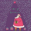 Merry christmas cartoon card — Vector de stock #25314061