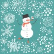 Winter background with cartoon snowman — Stock Vector