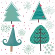 Winter tree. Cute cartoon set in vector — Stock Vector