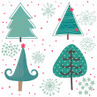 Winter tree. Cute cartoon set in vector - Stock Vector