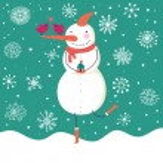 Happy cartoon snowman — Stock Vector