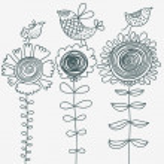 Birds on flowers — Stock Vector