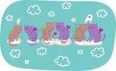 猫天使在爱卡通矢量 — 图库矢量图片
