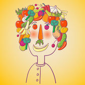 Funny face made of healthy food — Vecteur