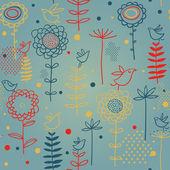 Fåglar på blommor. seamless mönster i vector — Stockvektor