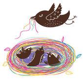 Nestlings in nest . Cartoon vector — Stock Vector