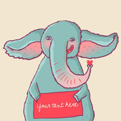 Cartoon elephant portrait — ストックベクタ