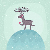 Christmas deer under snowfall — Stock Vector