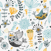 Birds and flowers. Cartoon seamless pattern — Stock Vector