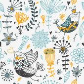 Birds and flowers. Cartoon seamless pattern — Stock Vector