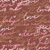 Bright romantic seamless pattern made of love words in vector — Stock Vector