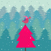 Bright cartoon Christmas background — Vecteur