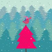 明るい漫画クリスマス背景 — ストックベクタ