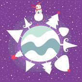 Funny cartoon Christmas illustration — Stock Vector