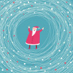 Merry Christmas. Cartoon vector card — Stock Vector
